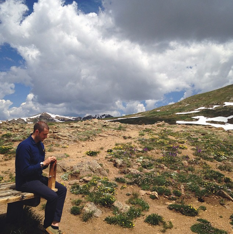 Roy stitching at 9,000 feet at our favorite spot: the top of Independence Pass in the Sawatch Range.