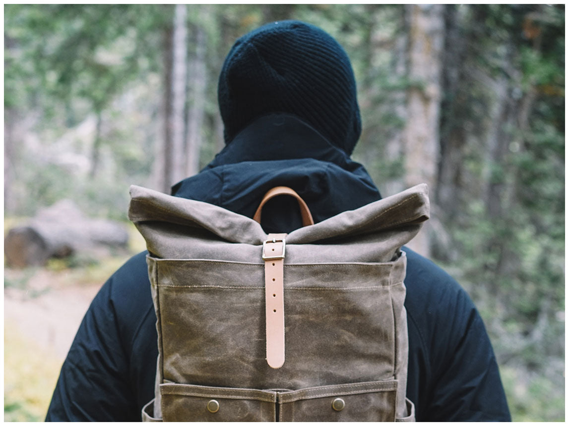 Winter Session x Armitage & McMillan Fall Lookbook Waxed Canvas Roll-Top Backpack