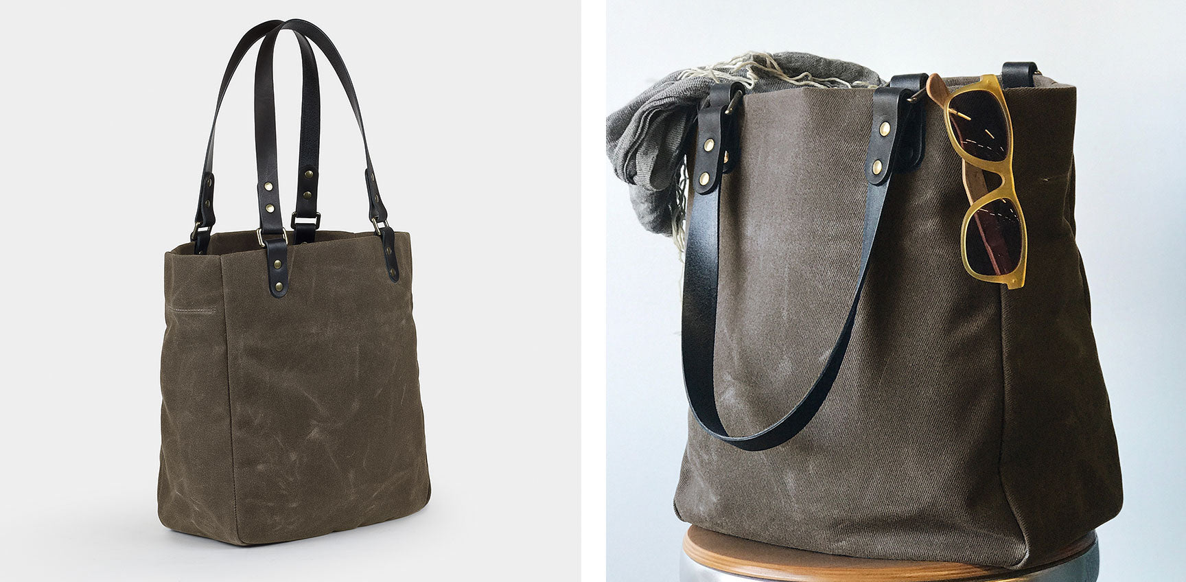 Waxed Canvas Utility Tote Bag | made in Denver by Winter Session