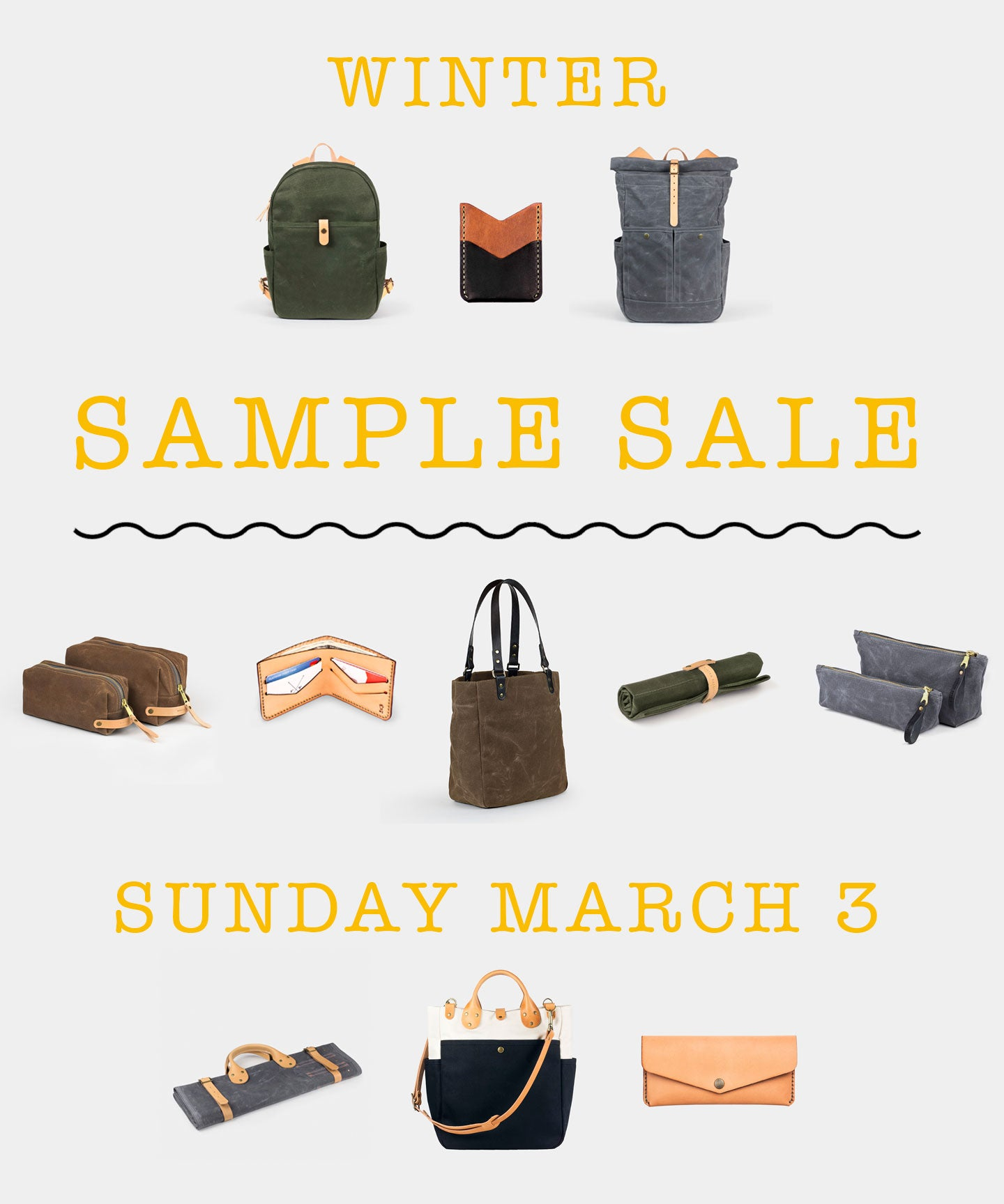WINTER SAMPLE SALE / canvas and leather goods made by Winter Session in Denver CO