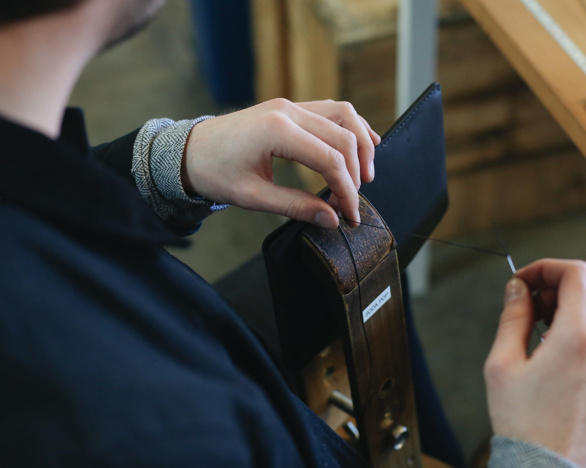 Meet the Winter Session Team: Jack | Wallet Stitching | Photo by Audrey Boyd