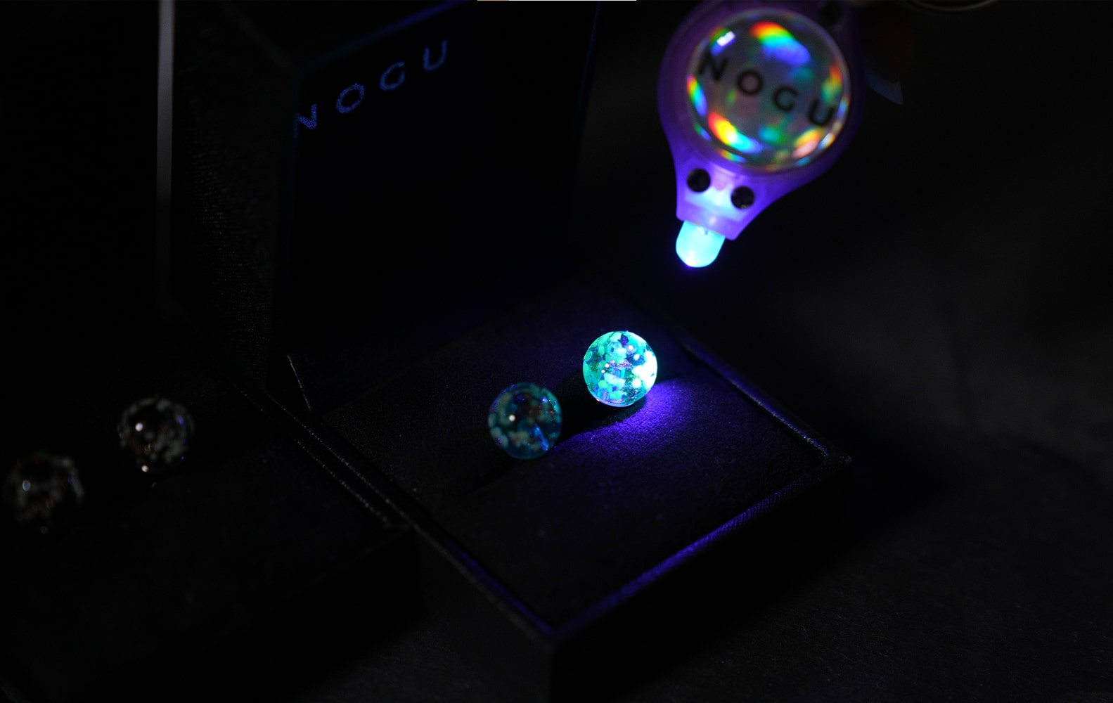 NOGU UV Charging Black Light for Glow in the Dark Firefly Glass jewelry Collection (Glowing earrings, necklaces, bracelets)