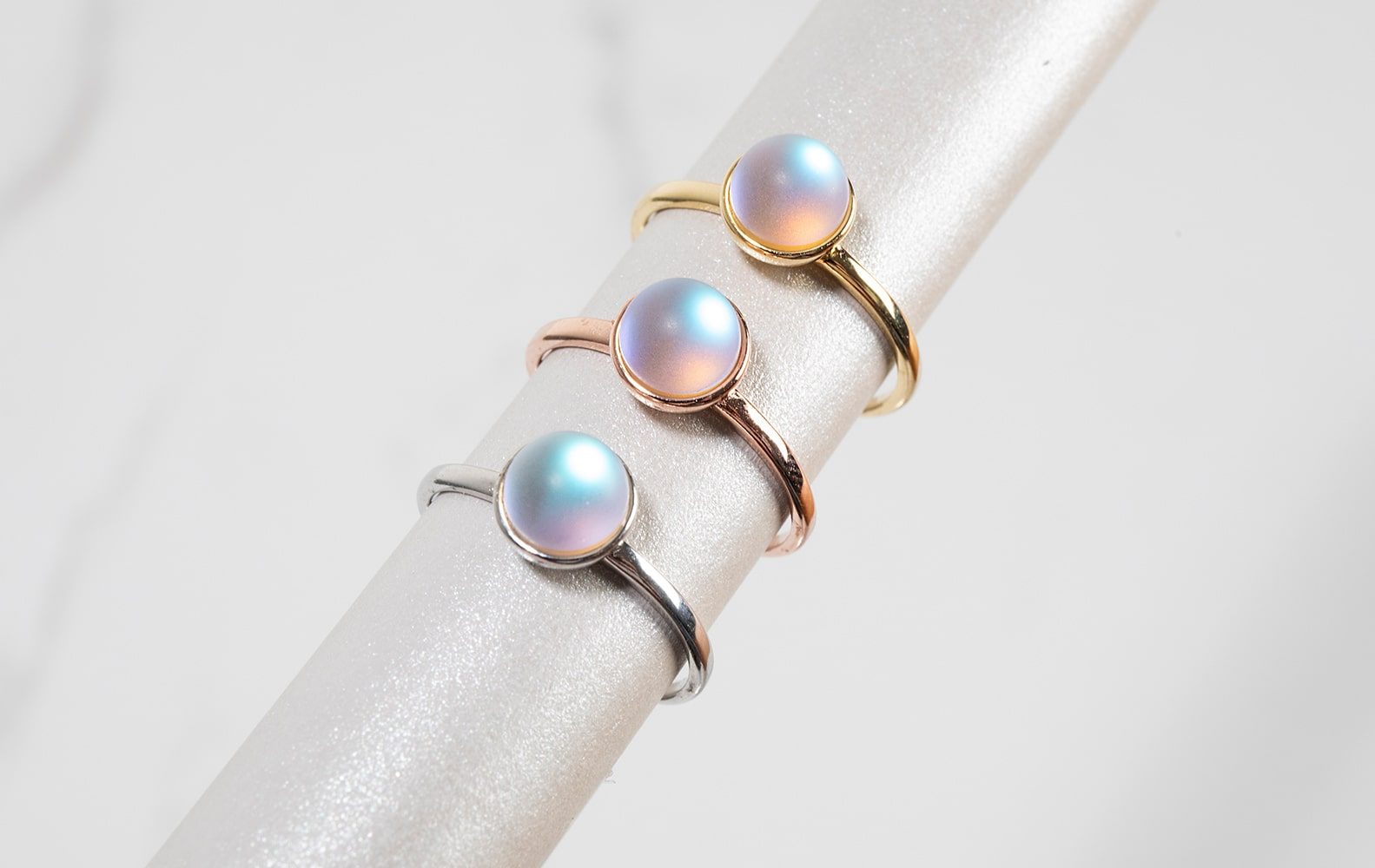 NOGU Authentic Mermaid Glass Rings (Rose Gold, Sterling Silver, and Gold) Dainty Jewelry Rings, Handmade