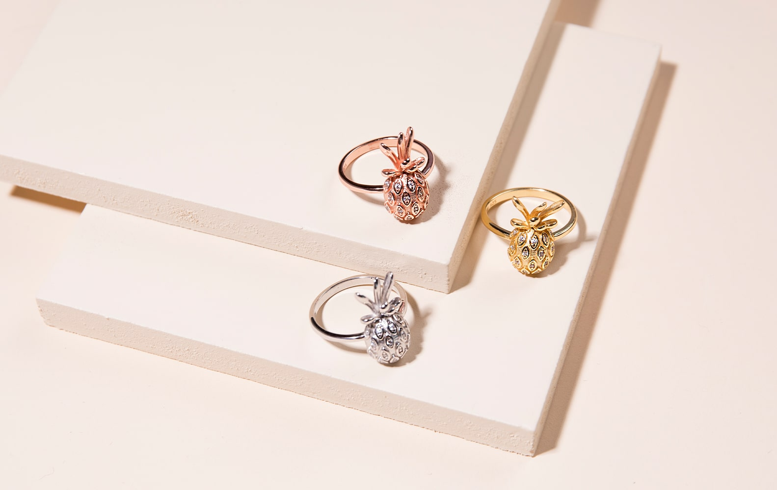NOGU Summer Pineapple Dainty Rings (Rose Gold, Silver, Gold Vermeil with CZ Diamonds)