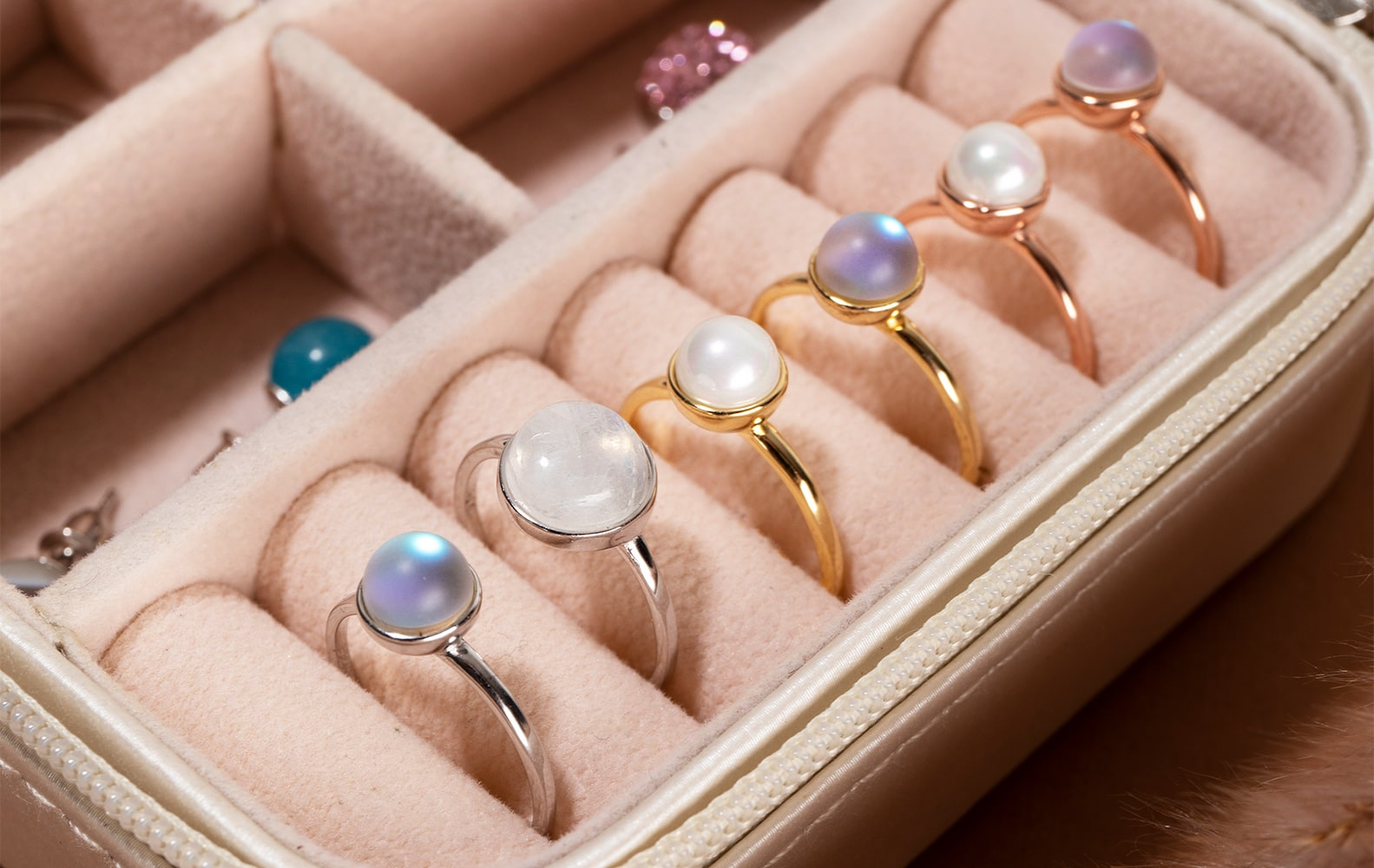 NOGU Handmade Rings (Rose Gold, Gold, and Sterling Silver with Moonstones, Galaxy Glass, and Mermaid Glass