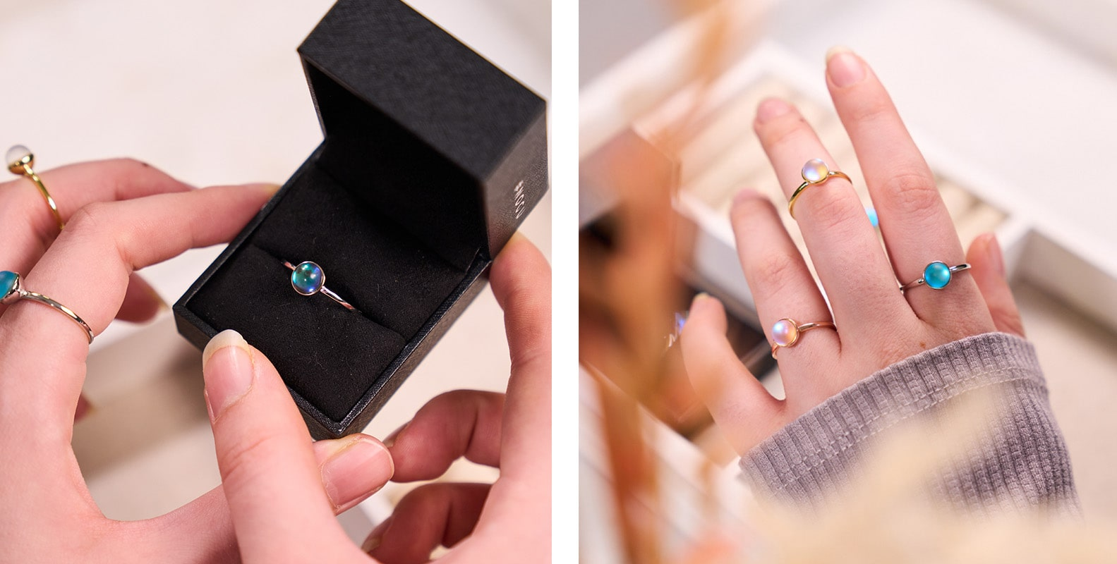 NOGU How to Stack Rings and Earrings Guide (Creative Stack with Colorful Mermaid Glass and Galaxy Glass Rings)