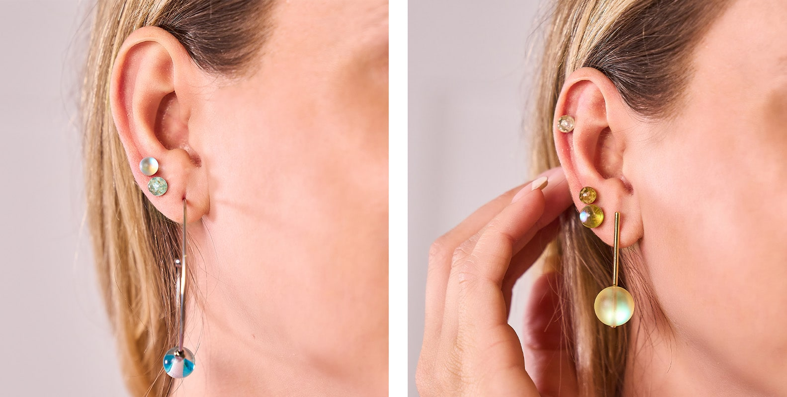 NOGU How to Stack Earrings and Rings (Glow Stacks with Mermaid Glass, Galaxy Glass, Firefly Glass Earrings)