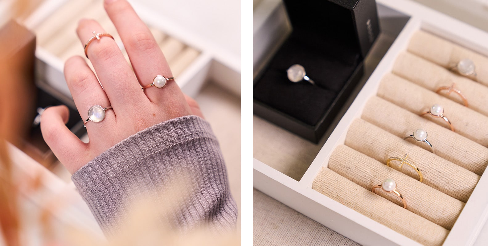 NOGU How to Stack Earrings and Rings (Understated Stack with Dainty and Minimalist Pearl Cross Moonstone Rings)