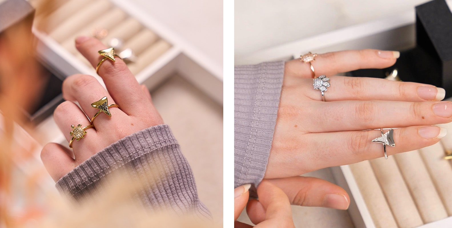 NOGU How to Stack Rings and Earrings (Wild Stack with Pup Paw Shark Tooth and Sea Turtle Tortuga Dainty Rings)