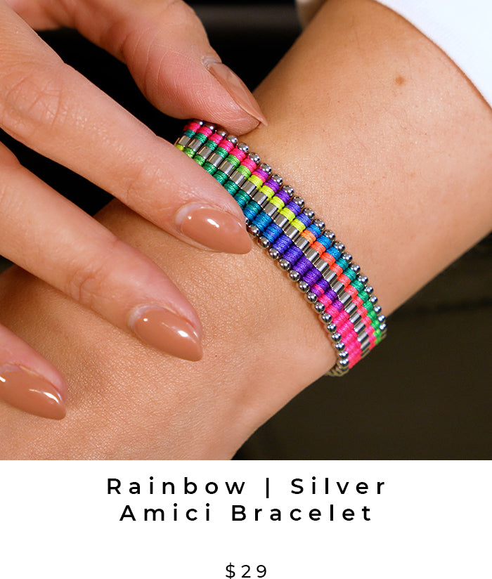 Rainbow and Silver Amici Handcrafted Friendship Bracelet (LGBTQ Pride)