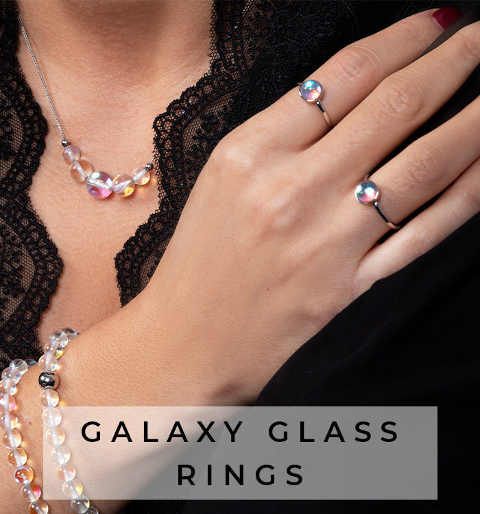 NOGU Handmade Authentic Galaxy Glass Ring Jewelry Collection
