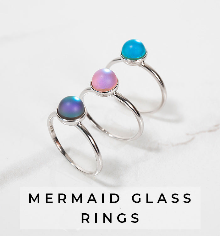 NOGU Mermaid Glass Dainty Ring Jewelry Collection