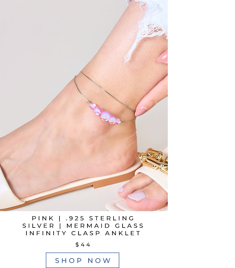 Pink Rose Mermaid Glass Authentic Summer Anklet Necklace