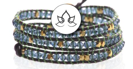 LEATHER LOTUS WRAP BRACELETS