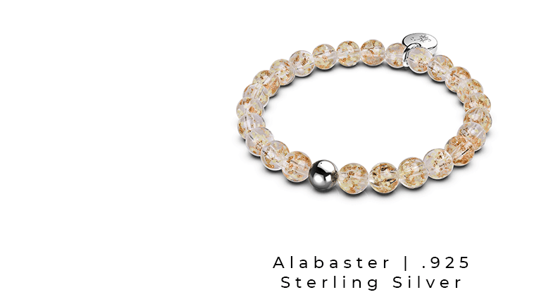 Alabaster Sterling Silver Handcrafted Firefly Glass Bracelet (Glow in the Dark)