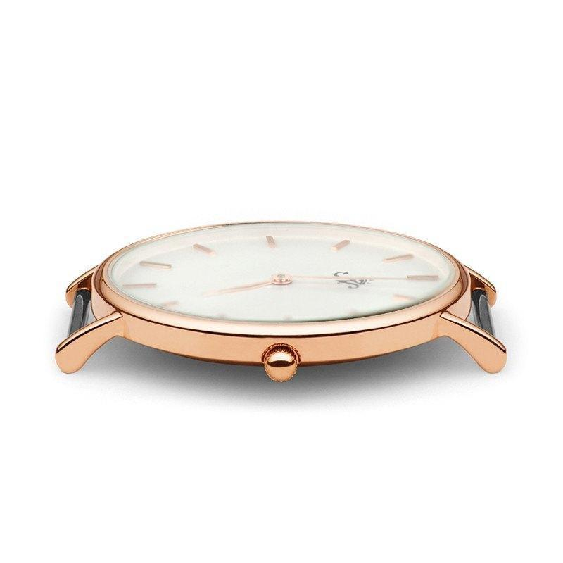 Bayview - Rose Gold Timepiece with Black Leather