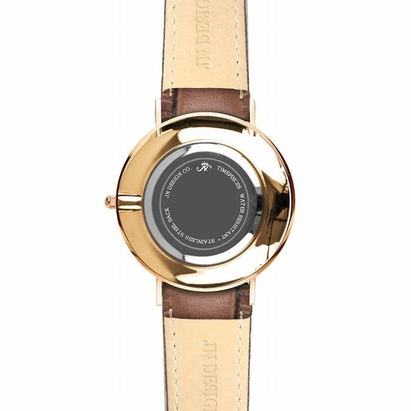 Dupont - Gold Timepiece with Brown Leather