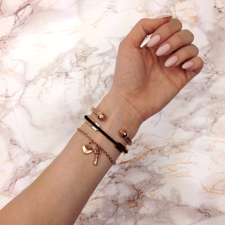Selene | 18k Rose Gold | Champagne Crystal | Goddess Bangle