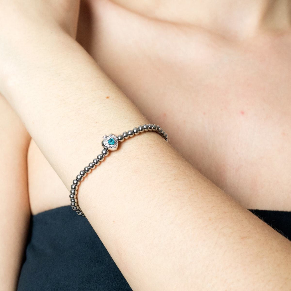 December | Turquoise Birthstone | Silver | Crystal Heart Bracelet