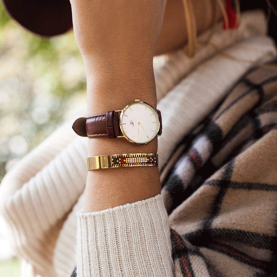 Wellesley - Gold Timepiece with Brown Leather