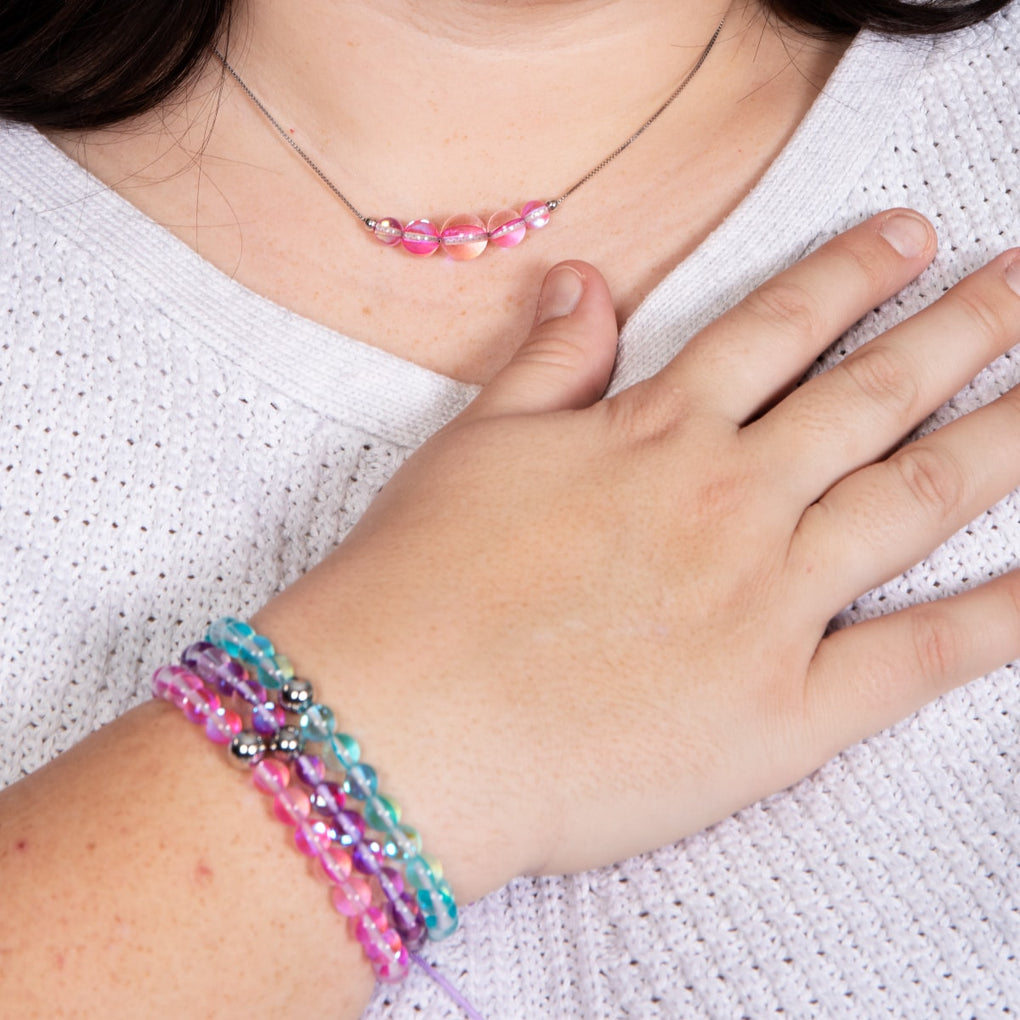 Pink Nebula | .925 Sterling Silver | Galaxy Glass Bead Bracelet