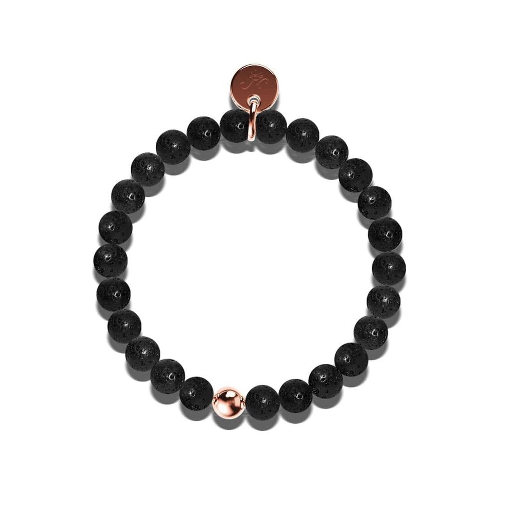 Pompeii | Black Lava Rock | 18k Rose Gold | Expression Bracelet
