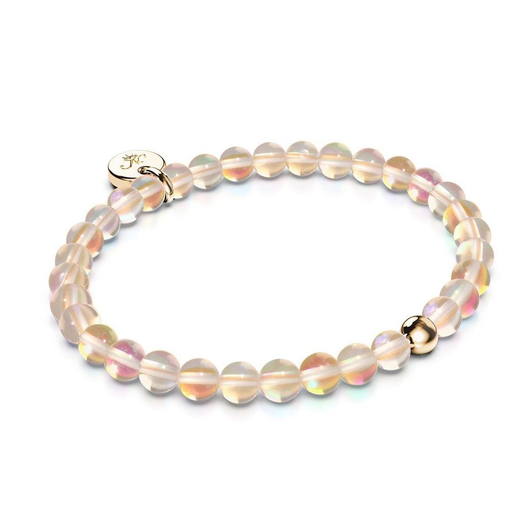 Champagne Supernova | .925 Sterling Gold Vermeil | Galaxy Glass Bead Bracelet