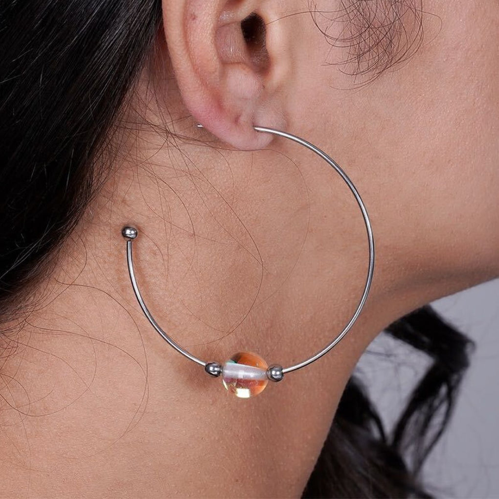 Champagne Supernova | Silver | Galaxy Glass Hoop Earrings