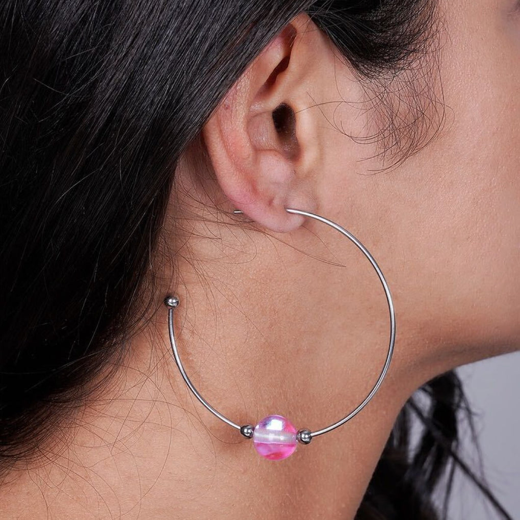 Pink Nebula | Silver | Galaxy Glass Hoop Earrings