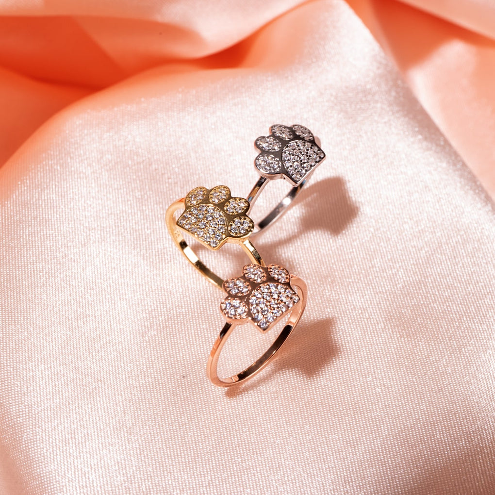 Paw | Gold Vermeil | CZ Diamond Pup Print Ring