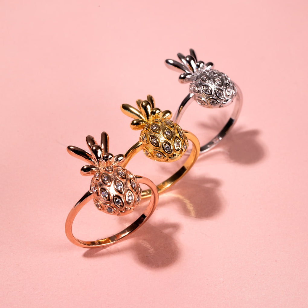Pina Colada | Rose Gold Vermeil | CZ Diamond Pineapple Ring