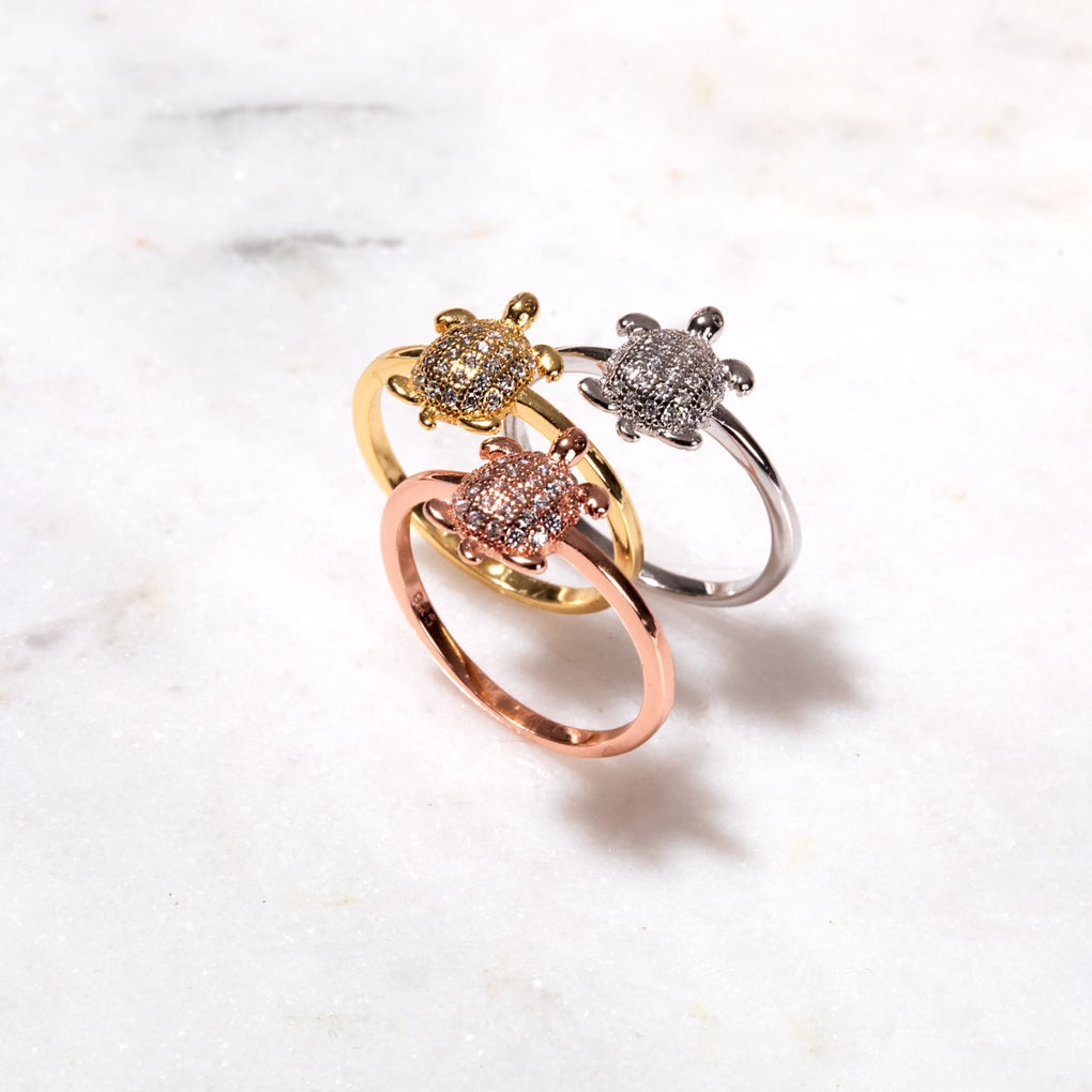 Tortuga | Gold Vermeil | CZ Diamond Sea Turtle Ring