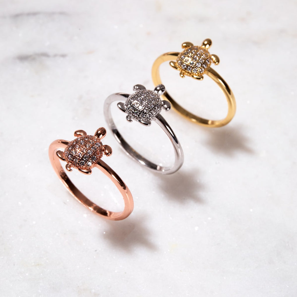 Tortuga | Rose Gold Vermeil | CZ Diamond Sea Turtle Ring