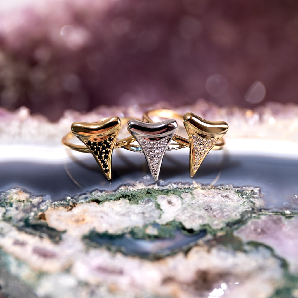 Shark Tooth Ring by Lauren Howe | .925 Sterling Gold Vermeil | Black Crystal