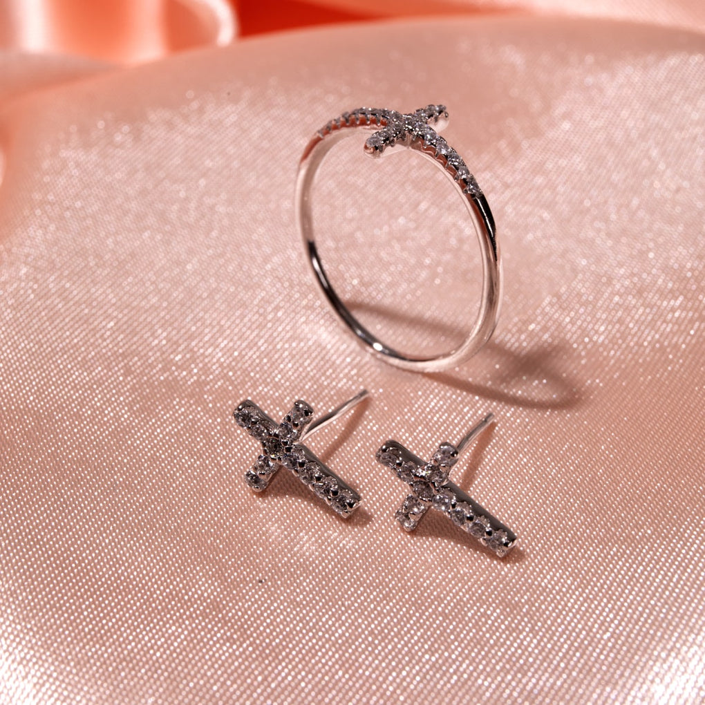 Blessed | .925 Sterling Silver | CZ Diamond Cross Ring