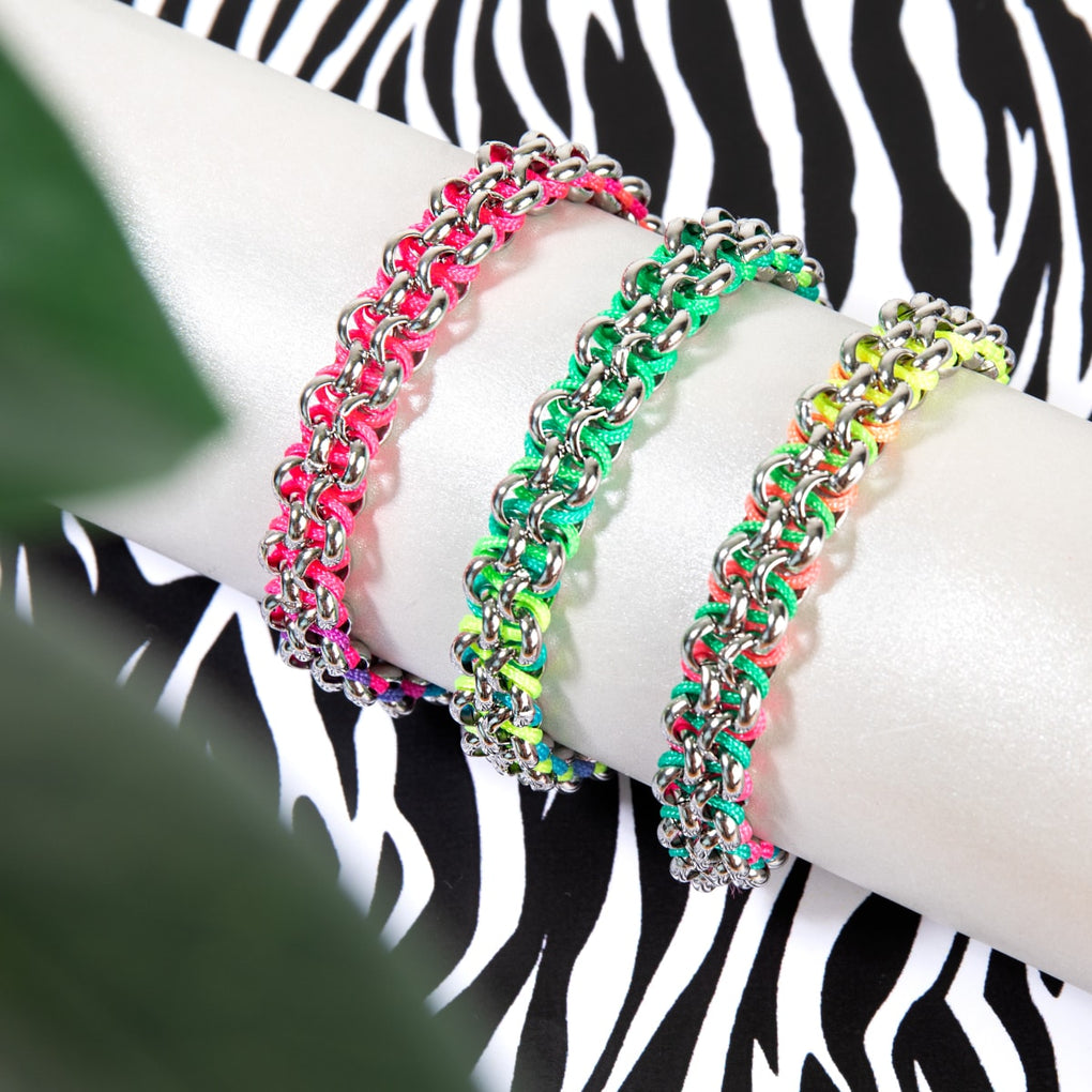 Macaw Links | Mini Kismet Bracelet | Rainbow x Silver
