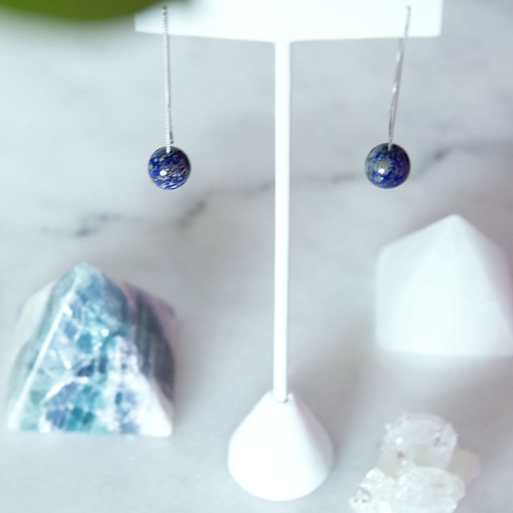 Lapis | .925 Sterling Silver | Chain Drop Threader Gemstone Earrings