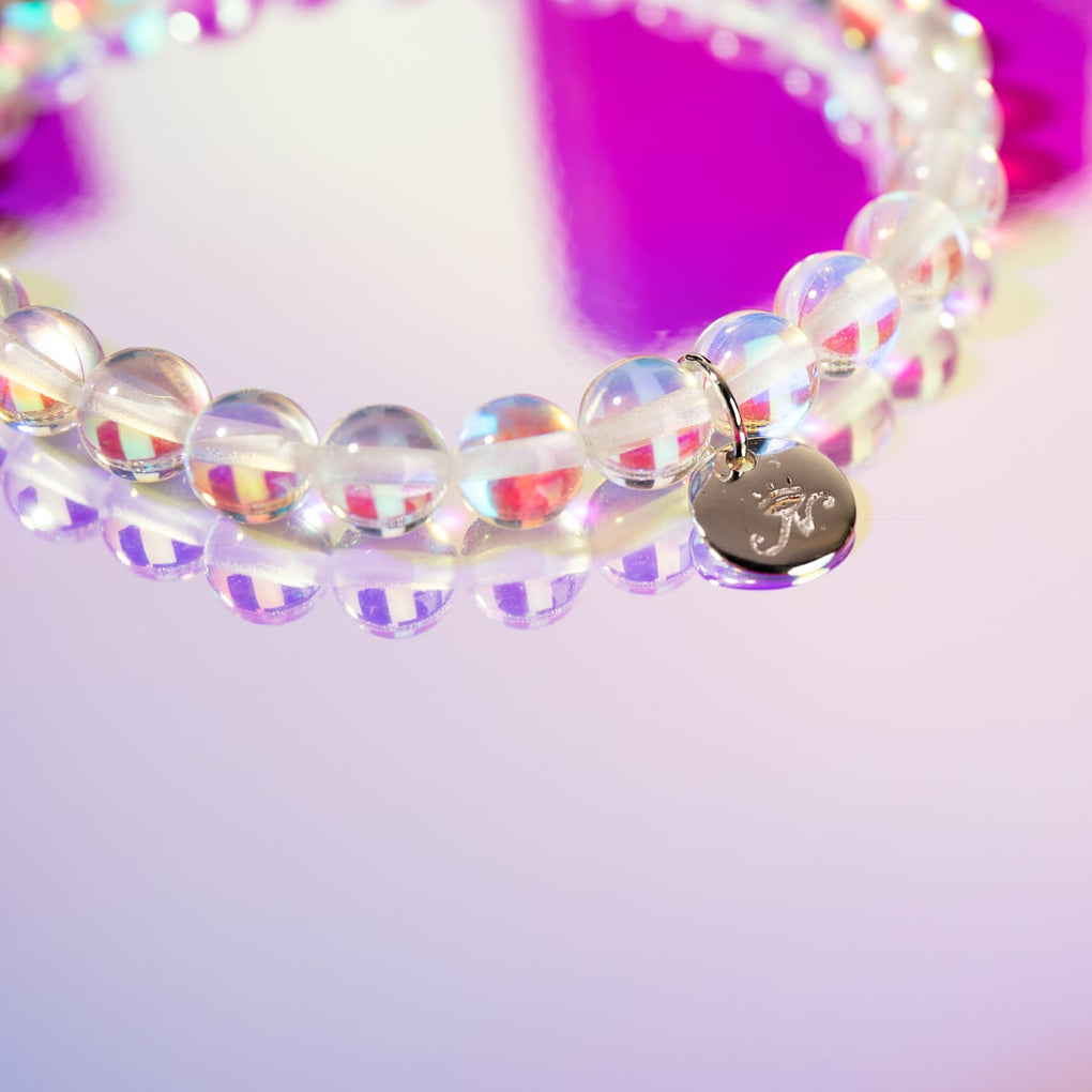 Rainbow Supernova | .925 Sterling Silver Galaxy Glass Gift Set | Bracelet and 6mm Stud Earrings