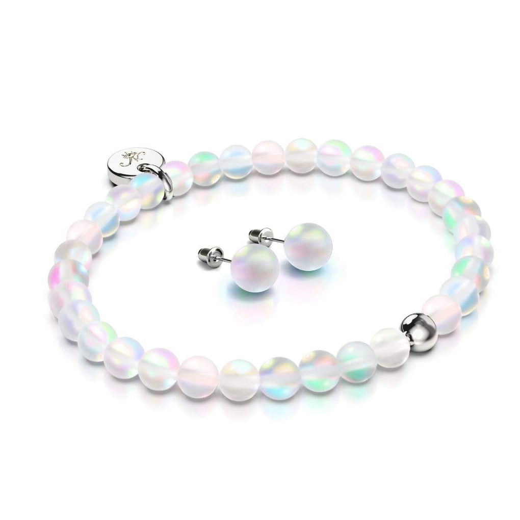 Rainbow White | White Gold Vermeil | Mermaid Glass Gift Set | Bracelet and Stud Earrings