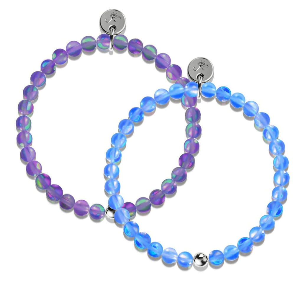 Sapphire and Violet | White Gold Vermeil | Mermaid Glass Gift Set