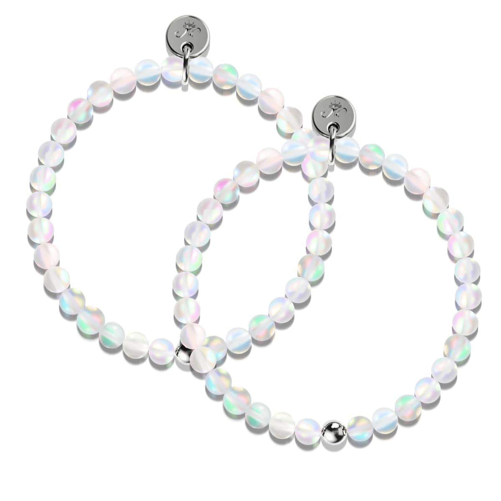 Rainbow White | White Gold Vermeil | Twin Mermaid Glass Bracelet Gift Set
