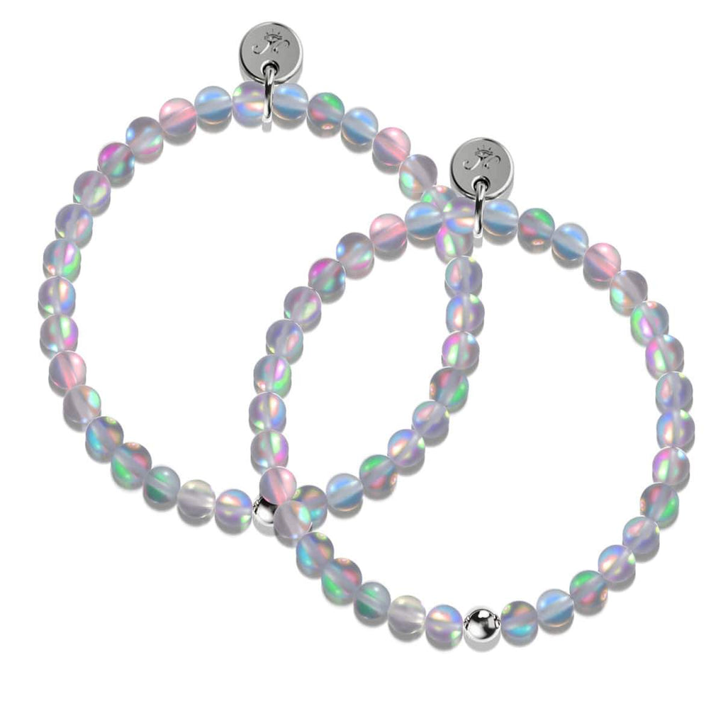 Grey | White Gold Vermeil | Twin Mermaid Glass Bracelet Gift Set