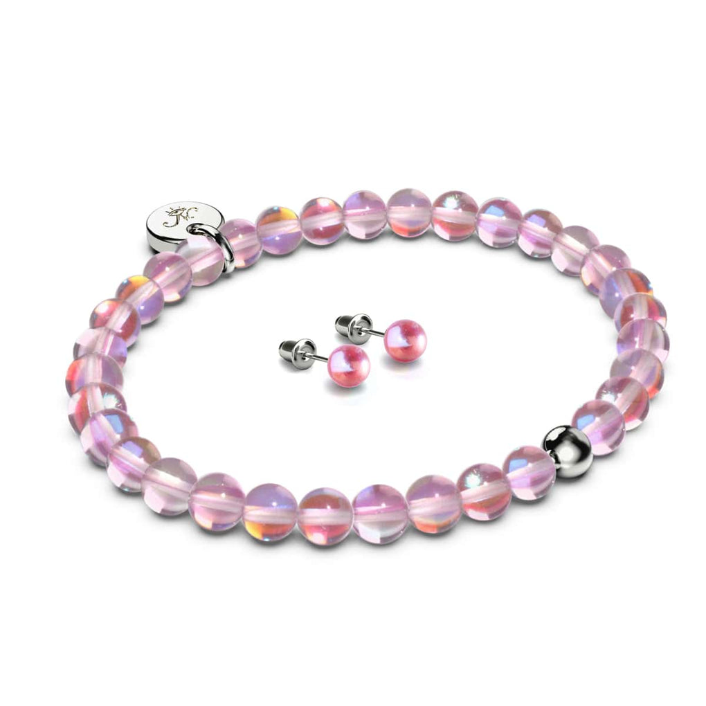 Pink Nebula | .925 Sterling Silver Galaxy Glass Gift Set | Bracelet and 6mm Stud Earrings