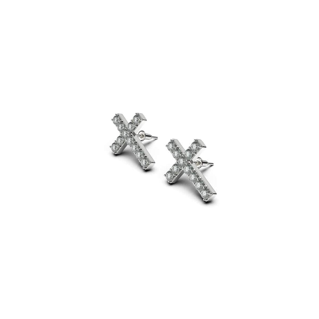 Blessed | 18k White Gold Vermeil | .925 Sterling Silver | Cubic Zirconia Crystal Cross Earrings