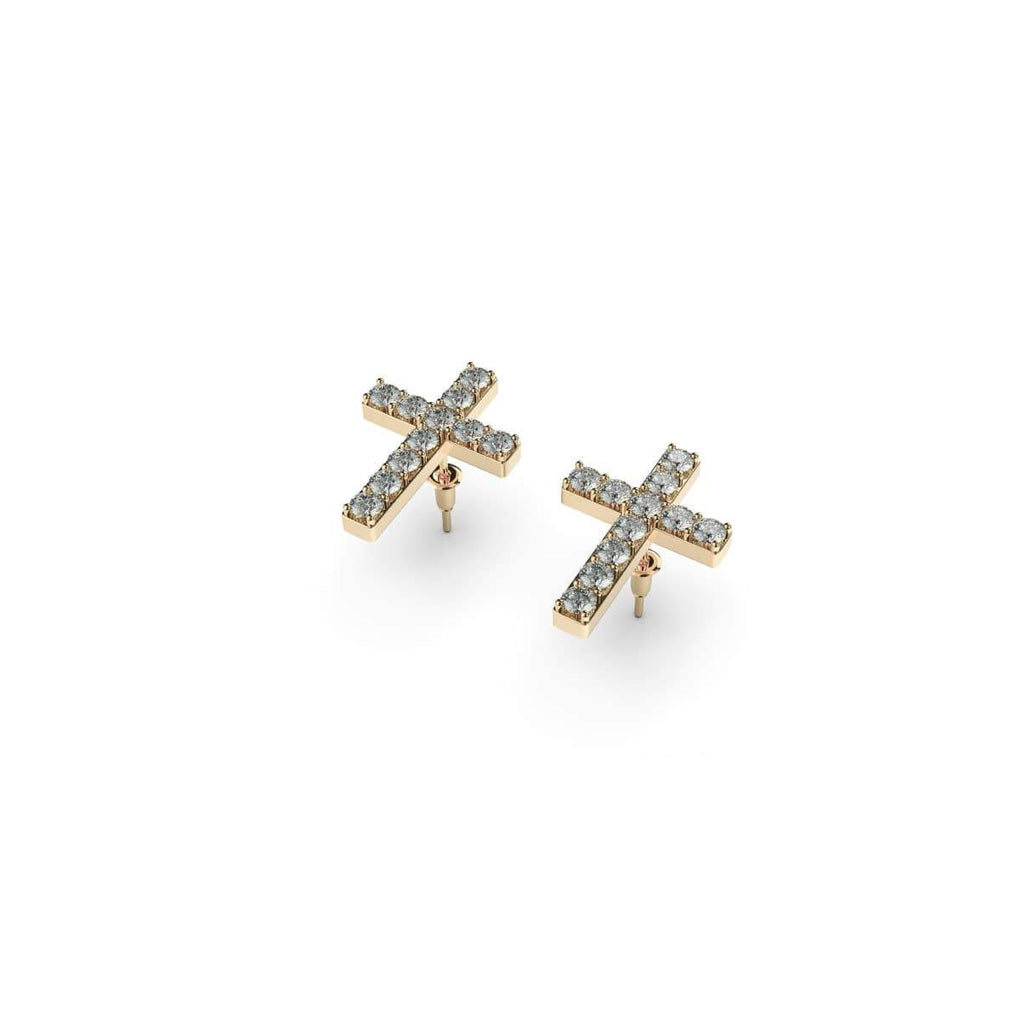 Blessed | 18k Gold Vermeil | .925 Sterling Silver | Cubic Zirconia Crystal Cross Earrings