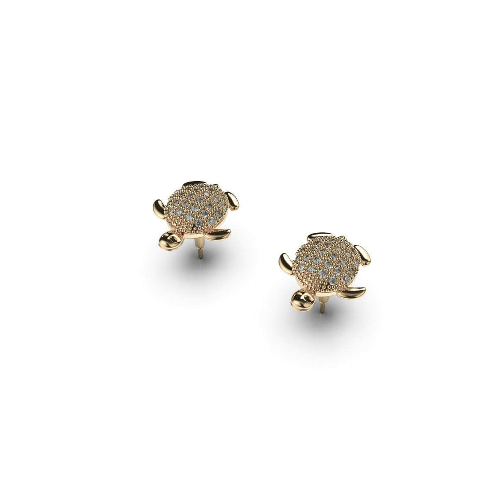 Tortuga | 18k Gold Vermeil | .925 Sterling Silver | Cubic Zirconia Crystal Sea Turtle Earrings