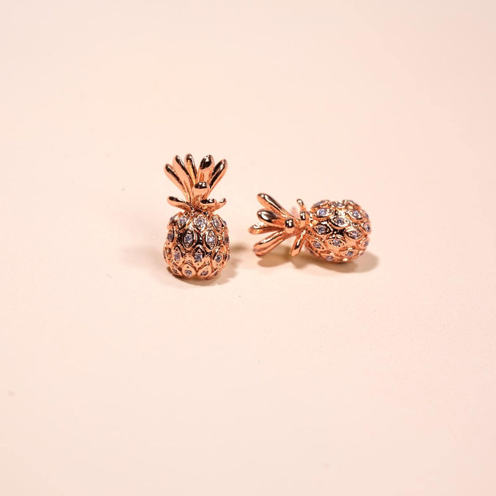 Pina Colada | 18k Rose Gold Vermeil | .925 Sterling Silver | Cubic Zirconia Crystal Pineapple Earrings