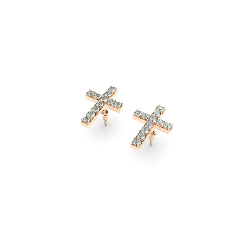 Blessed | Rose Gold Vermeil | CZ Diamond Cross Earrings