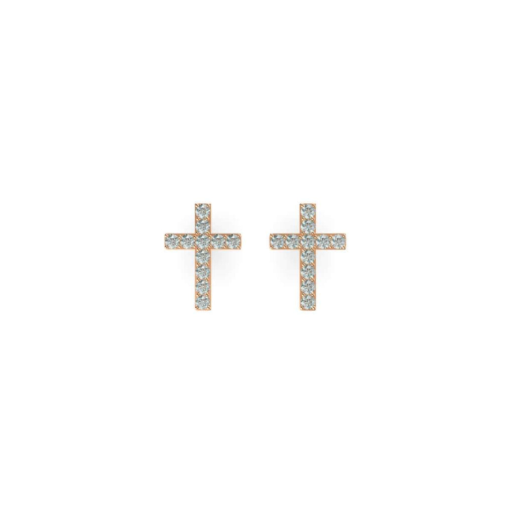 Blessed | 18k Rose Gold Vermeil | .925 Sterling Silver | Cubic Zirconia Crystal Cross Earrings