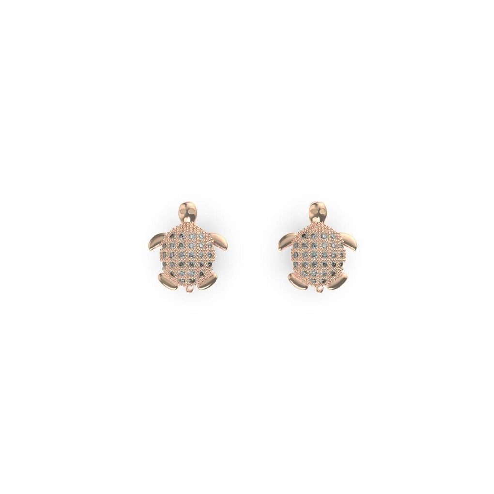 Tortuga | 18k Rose Gold Vermeil | .925 Sterling Silver | Cubic Zirconia Crystal Sea Turtle Earrings